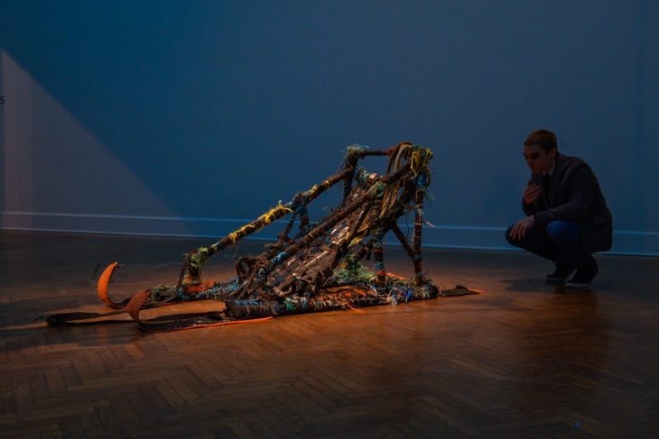 Dog Sled, 2013 Arctic Sea trash and tar paper found in an abandoned coal mine in Longyearbyen, Norway  7 x 2 5/6 x 2 1/2 feet. Photo: Kate Warren/GoKateShoot