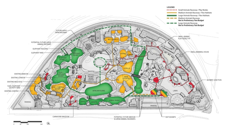 Three distinct trail systems will allow  animals to roam widely across the campus. Credit: Courtesy Philadelphia Zoo.