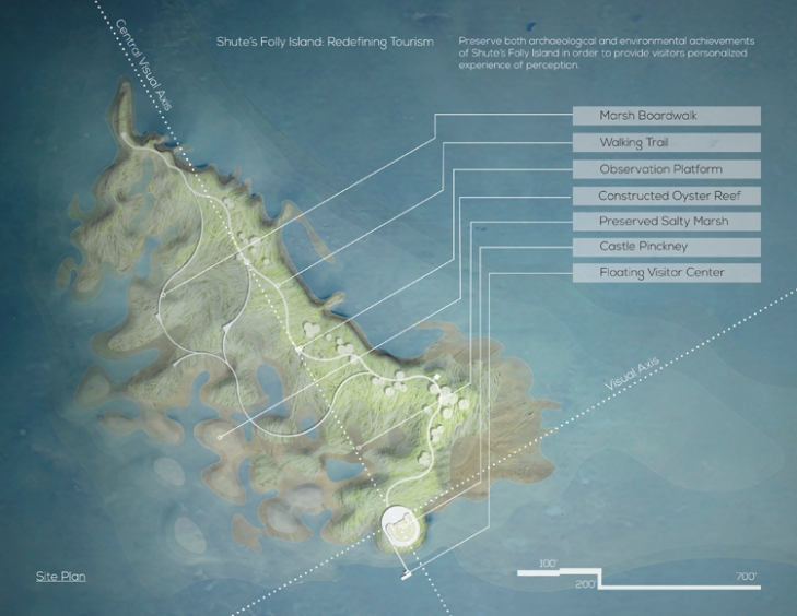 Shute's Folly Island: Redefining Tourism Site Plan. Courtesy Zheming Cai.