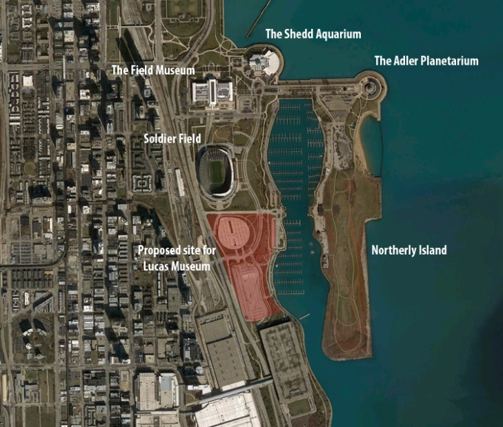 The proposed site for the Lucas Museum of Narrative Art would replace two parking lots south of Soldier Field.