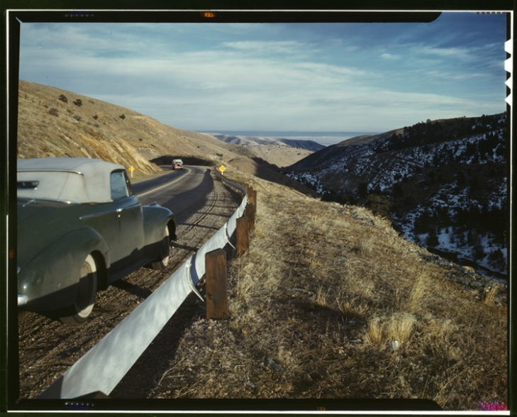 """View along US 40 in Mount Vernon Canyon, Colorado"" by Andreas Feininger, 1942."