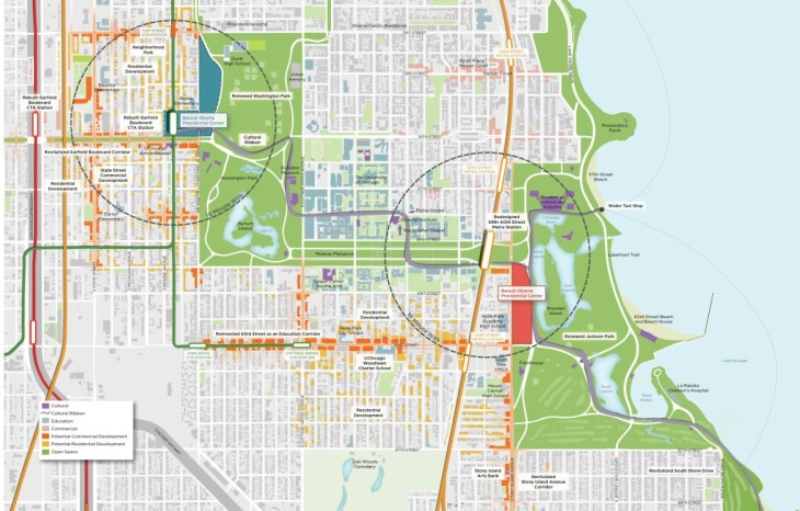 The two University of Chicago proposed sites for the Barack Obama Presidential Library and x. Credit: University of Chicago.