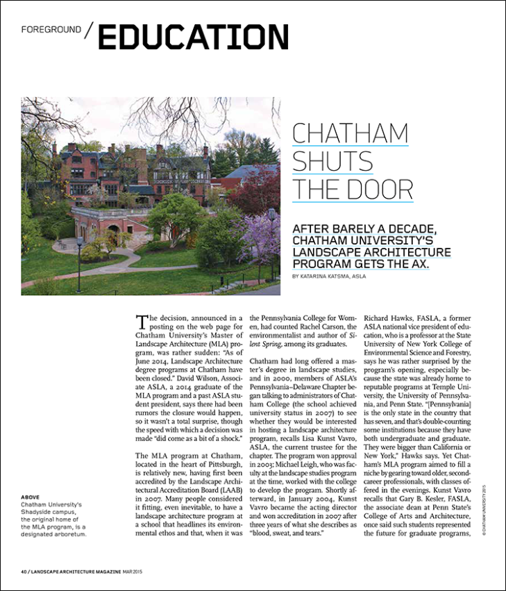 After barely a decade, Chatham University's landscape architecture program gets the ax.
