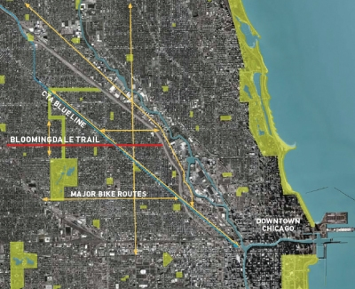 The trail stretches from the city's west side to within a few miles of the River North central business district.