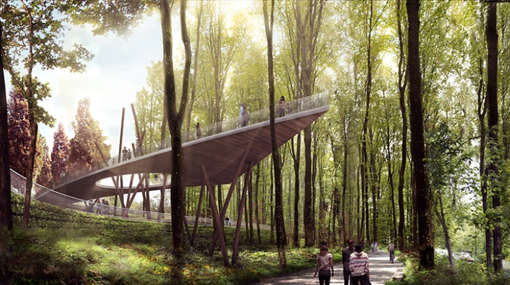Rendering (yes, a rendering) of wooded area overlook.