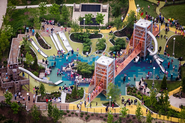 Slide Crater at Maggie Daley Park features multiple slide options for children 5 to 12 years old. Credit: Alex MacLean.