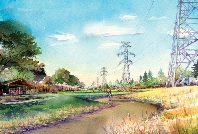 Proposal for a multiuse trail piggybacking on an existing power line easement in Houston's Westchase District.