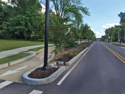 The completed cycle track on North El Paso Avenue in Russellville, Arkansas, by members of Alta.