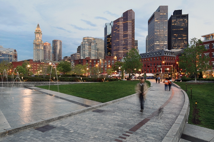The Canal Fountain in the North End Parks acts as a foreground for Boston's skyline.