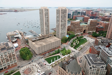 An aerial view into Wharf District Parks.