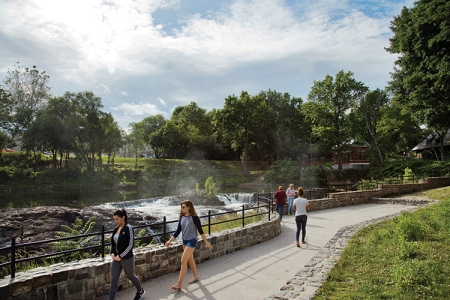 The newly restored Mary Ellen Kramer Park brings visitors to the falls' edge.