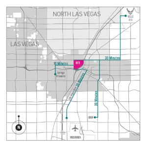 Top: Focus area of the UNLV Downtown Design Center's planning effort on the Westside. Bottom: Westside's location in Greater Las Vegas is less than a half mile away from the newly resurgent downtown.
