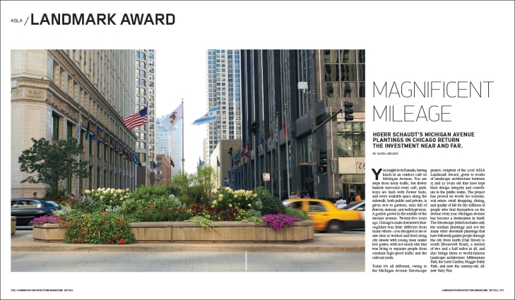 Hoerr Schaudt's Michigan Avenue plantings in Chicago return the investment near and far.