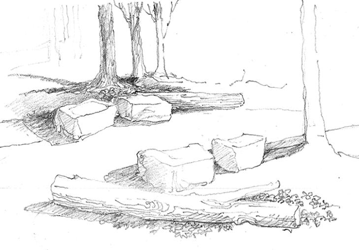 Stoney Creek bank stabilization sketch. Image courtesy of Jack Sullivan, FASLA.