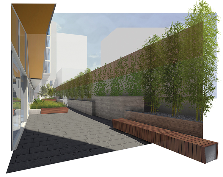 A Perspective Rendering Of A University Of California, Berkeley, Residence  Hall Courtyard Was Modeled And Rendered Within Revit, Except For A Final ...