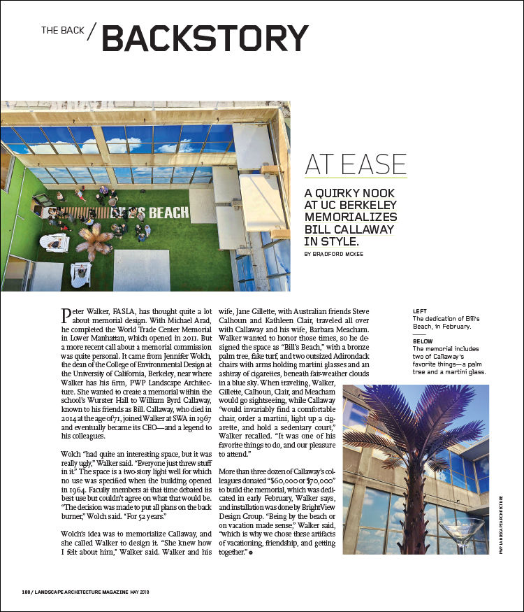 FROM THE MAY 2018 ISSUE OF LANDSCAPE ARCHITECTURE MAGAZINE.